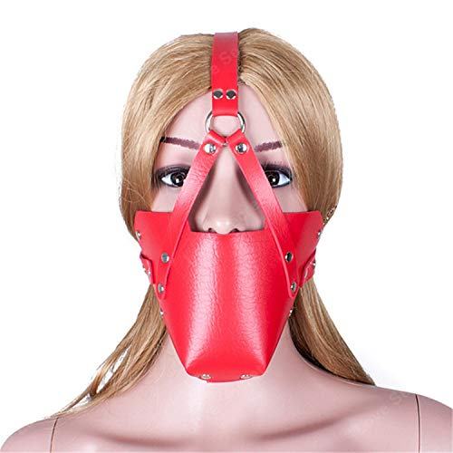 Memoriesed Red Pu Leather Head Harness Open Mouth Ball G&ag with Mask Toys in Game B Products ()