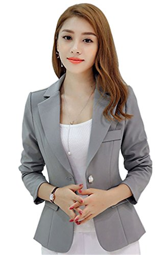 HaoMing Long Sleeve Peplum Solid Color Casual Work Blazer for Women #3 Gray 2XL