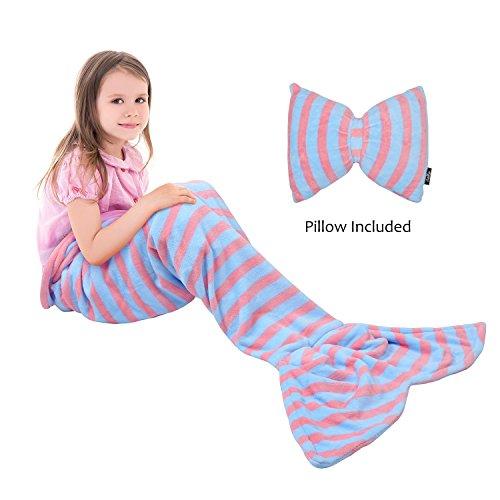 Kids Mermaid Tail Blanket Pillow Cushion,Super Soft Coral Plush Fleece Mermaids Gift Snuggle Sleeping Bag for Girls Teens Children 60 x 21 By Catalonia ()