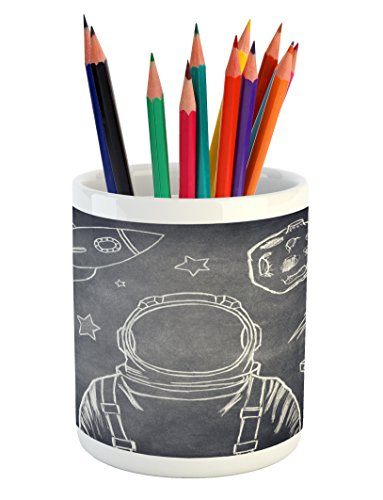 White Cadet Cadet Drop (Modern Pencil Pen Holder by Lunarable, Space Backdrop with Planets and Sketchy Astronaut Figure Asteroid Galaxy Image, Printed Ceramic Pencil Pen Holder for Desk Office Accessory, Cadet Blue White)