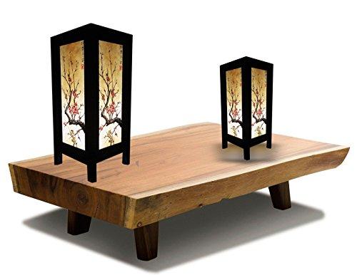 Ram Bedside Rails (Blue Mango. Table Light Thai Vintage Lamp Japanese Sakura Wood Solid Shade Relax Lighting For Bedroom Bedside Desk Contemporary Living Room Study Cafe Floor or Table Lamp Wood Lighting (Rectangle).)