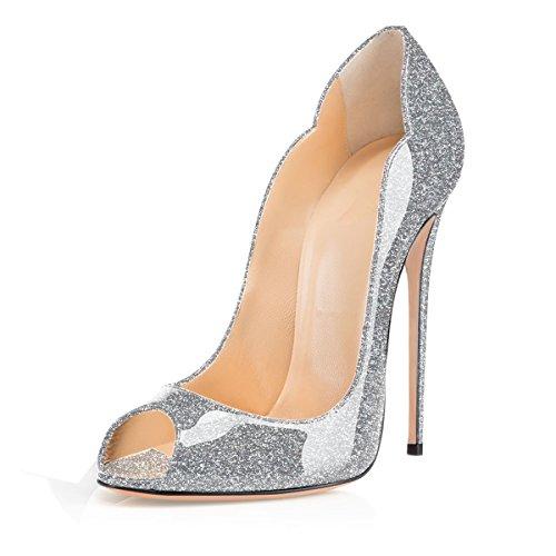 Aiguille Haut Bout Femme Talon Escarpins 12CM Y Femme Soireelady Chaussures argent Comfort Ouvert zUB1Aq6