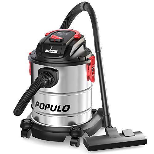 - Populo 5 Gallon, 5.5 Peak HP, Stainless Steel Wet/Dry Vac for Home, Garage, Car, Basement and Workshop, Features Rear Port Blower Function, 4 Layer Filtration System, Various Attachments, Accessories