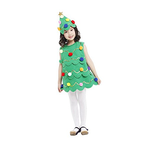 Imixcity Christmas Dress Xmas Tree Children Girls Costume With Hat M (Family Halloween Costume Ideas With Baby)