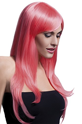 Fever Women's Long Feathered Pastel Coral Wig with Bangs, 26inch, One Size -