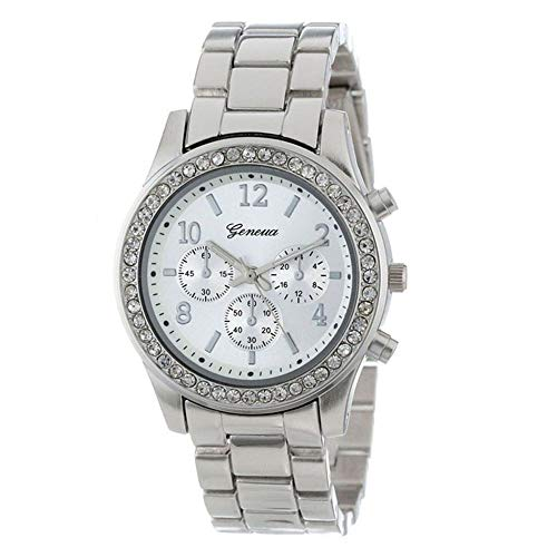 Triskye Women Analog Quartz Watches Business Casual Metal Strap Band Faux Chronograph Plated Classic Round Wrist Watch Crystals Bracelet Girls Ladies Alloy Dress Gift ()