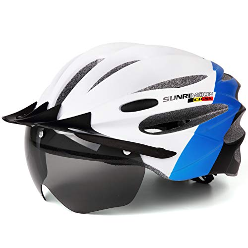 ELLOLLA Adult Bike Helmet with Removable Goggles Visor, Adjustable Size Lightweight Bicycle Helmet for Men Women Mountain & Road Cycling