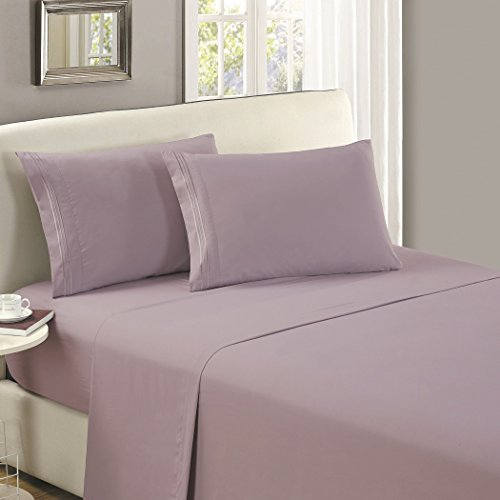 Mellanni Flat Sheet TwinXL Lavender Brushed Microfiber 1800 Bedding Top Sheet - Wrinkle, Fade, Stain Resistant - Hypoallergenic - (Twin XL, ()