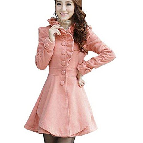 Partiss Womens Ruffles Collar PeaCoat Pink,Large