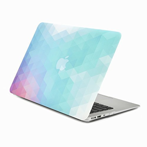 UNIK CASE-Purple Light Blue Gradient Ombre Triangular Galore Graphic Ultra Slim Light Weight Matte Rubberized Hard Case Cover for MacBook Air 13 13-Inch Model: A1369 and A1466