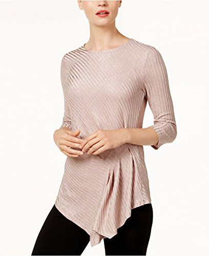 Vince Camuto Draped Metallic Top (Rose Taupe, L)