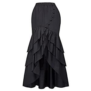 Belle Poque Vintage Steampunk Gothic Victorian Ruffled High-Low Skirt BP000406