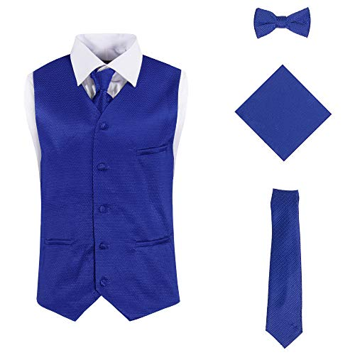 Vittorino Mens 4 Piece Formal Vest Set Combo with Tuxedo Vest Tie Bow Tie and Handkerchief, Royal Texture, Medium ()