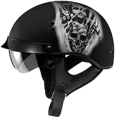 DJCALA Medio Casco Moto, Classic Vintage Casco, Dot Certificado, Abierto Casco, Demi-Jet Chopper Cruiser Biker Mofa Helmet Retro Scooter Piloto Motocicleta Urban (54-60cm): Amazon.es: Hogar