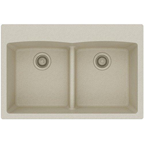 Elkay Quartz Classic ELGDLB3322BQ0 Equal Double Bowl Drop-in Sink with Aqua Divide, Bisque