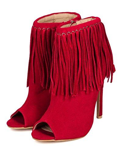 Liliana Cf73 Donna Frange Scamosciate Peep Toe Stiletto Stivaletto Rosso Faux Suede