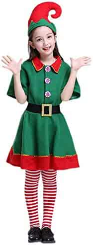 Da Mai Kids Holiday Green and Red Elf Costumes Dresses Christmas Eve Funny Boy and Grils Cosplay Party