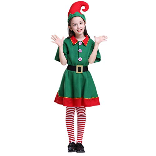 Da Mai Kids Holiday Green and Red Elf Costumes Dresses Christmas Eve Funny Boy and Grils Cosplay Party (Elf Girls Outfit)