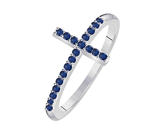 Forever Collection 'CHOOSE YOUR COLOR'' Women's Jewelry Created CZ Multicolor Round Thin Stackable 14K White Gold Plated Sideways Cross Ring Free Sizes 4-11 by Forever Collection