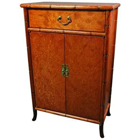 Oriental Furniture Burl Wood Shoe Cabinet