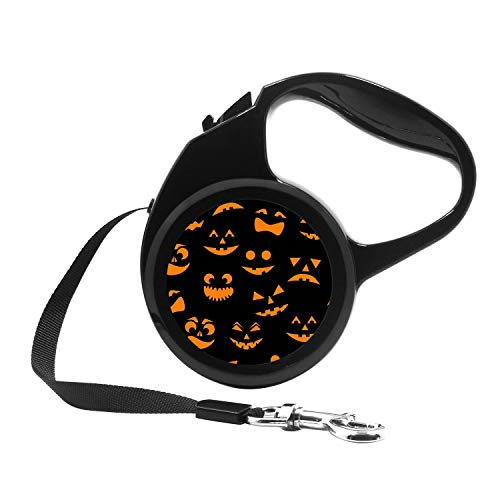 Retractable Dog Leash, 7ft Dog Walking Leash for Small Dogs up to 26lbs, One Button Break & Lock, Unique Design - Halloween Smiling Evil Pumpkin -