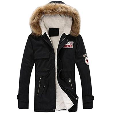 Sinzelimin Autumn Winter Men's Thicken Coat Zipper Long Cotton Jacket Hooded Windproof Coat Outwear