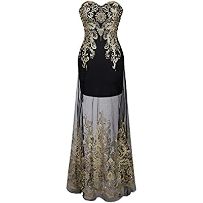 DRESS Vintage 1920'S Strapless Embroidery See Through Lace Up Long Evening Vestidos De Noche Black 189