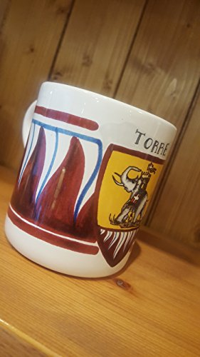 (Tower Elephant Mug. Mug with the typical decoration of the Contrade of the Palio di Siena. Torre.)