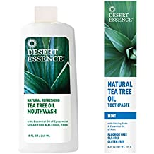 Desert Essence Tea Tree Oil Mouthwash and Desert Essence Natural Tea Tree Oil Toothpaste Bundle