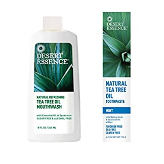 Eco Friendly Mouthwash & Toothpaste, Desert Essence, Tea Tree, 8 fl oz & 6.25 oz