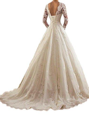 Robes pour Nuptiale Robe Ligne A Femmes Robes 5 marie Dentelle Tulle de la marie Longue Blanc rfqr8H