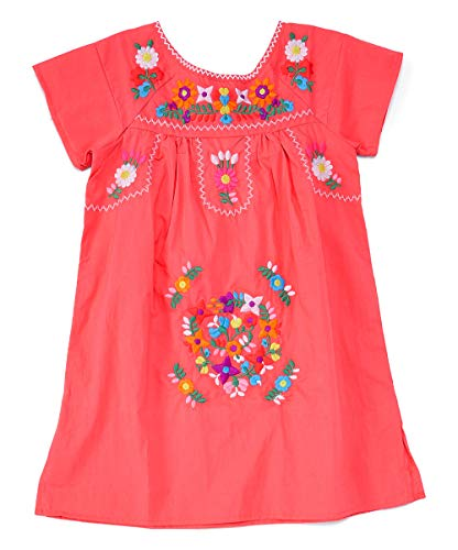 - unik Traditional Mexican Girl Embroidered Dress Coral Size 6
