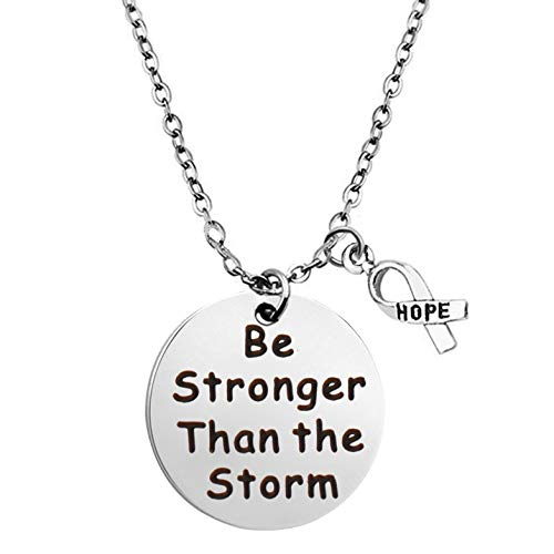 BEKECH Cancer Survivor Gift Be Stronger Than The Storm Necklace Awareness Ribbon Charm Recovery Jewelry Cancer Awareness Gifts (Silver)