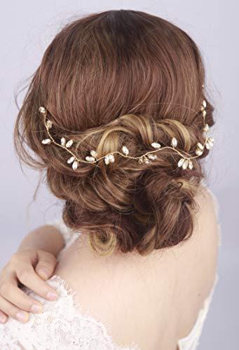 Kercisbeauty Bridal Crystal Gold and Silver Rose Gold Hair Vine Hair Halo Rhinestone Hair Wreath Wedding Headband Bridal Headpiece Crystal Headband Wedding Hair Accessories (Gold)