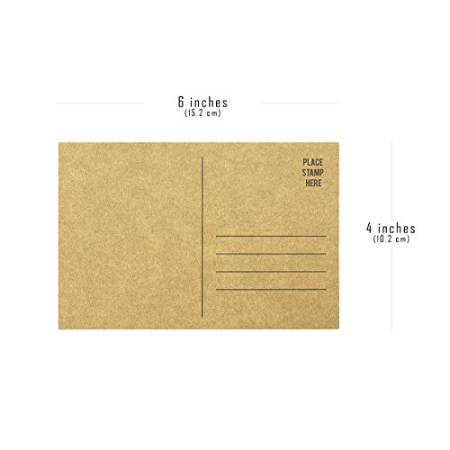Set of 50 Brown Kraft Paper Blank Postcards Pack - Self Mailer Mailing Side Postcards 50 Pack Postage Saver - 4 x 6 Inches Photo #3