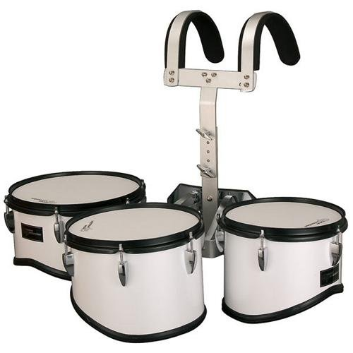 Groove Percussion MTR8012W Marching Trio Tom Tom Set with Vest by Groove Percussion