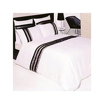 housse de couette 240x260 noir et blanc Drap House Housse de Couette Satin plissée 240x260 + 2 taies 65x65  housse de couette 240x260 noir et blanc