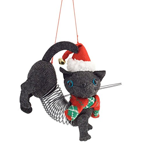 Diva At Home Set of 12 Gray and Red Slinky Cat Decorative Figurines with Christmas Cap (Slinky Cap)