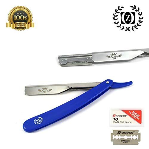 Navaja Shavette Wet Cut Throat Barber Shaving Razor + FREE 10 Blades Azul
