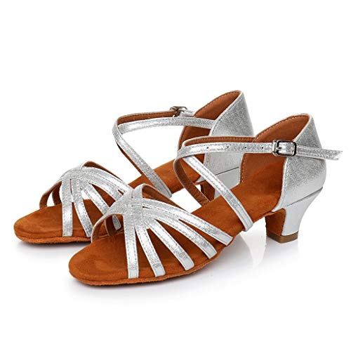 Never forgets Women's Low Heel Ladies Low Princess Dancing Shoes Ballroom Stilettos Tango Latin Shoes Sandals Silver