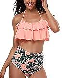 Tempt Me Women Two Piece Ruffle Halter Swimsuit High Waisted Bikini Set Orange S