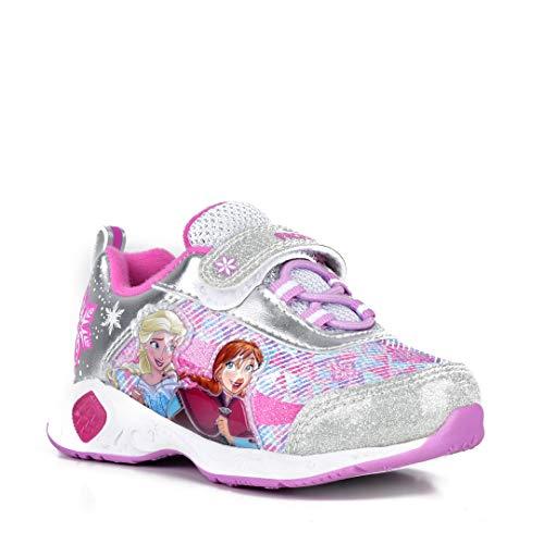 Disney Frozen Girls Light-Up Runner, Silver/Berry, 12 M US -