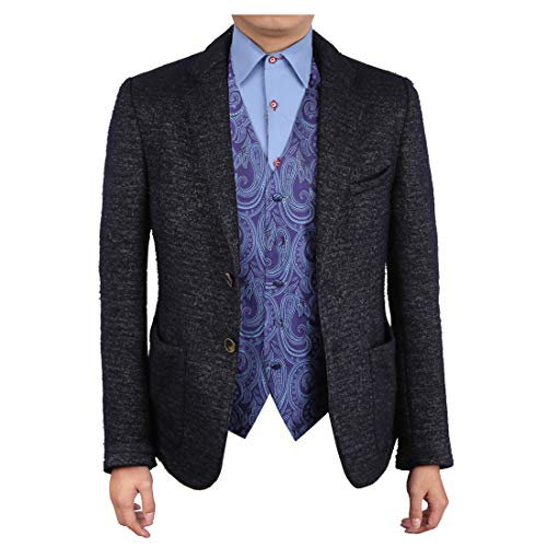 Epoint EGC1B01B-2XL Dark Blue Patterned Gifts For Designer Waistcoat Woven Microfiber Classic Gift Giving XX-Large - Waistcoat Patterned
