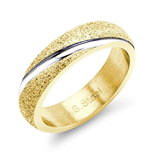 555Jewelry Womens High Polish Glittery Hypoallergenic Stainless Steel Sleek Swirl Shiny Silver Fine Fashion Jewelry Engagement Wedding Promise Comfort Wear Band Ring, Yellow Gold & Silver Size 9