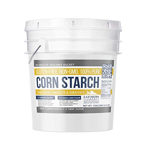Corn Starch (1 Gallon (4.5 lb.)) by Earthborn Elements, Resealable Bucket, Thickener For Sauces, Soup, Gravy, Highest Quality, All-Natural, Kosher, Food Grade & USP Grade, Vegan, Gluten-Free