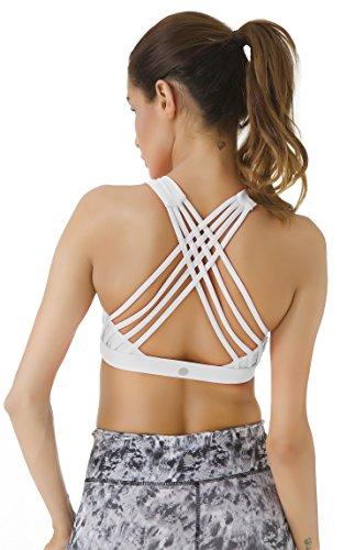 Queenie Ke Mujer Yoga Deportes Running Gym tiras del sostén acolchado extraíbles Blanco