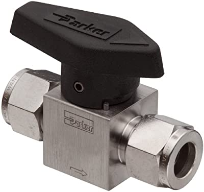 """Parker 316 Stainless Steel Rotary Process Plug Valve with Fluorocarbon Rubber Seal and PTFE Back-Up Ring, 3/8"""" A-LOK Compression Inlet/Outlet Port, 3000 psi from Parker"""