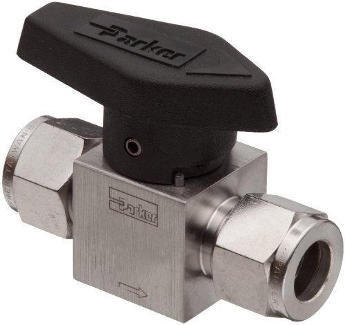 Parker 316 Stainless Steel Rotary Process Plug Valve with Fluorocarbon Rubber Seal and PTFE Back-Up Ring, 3/8