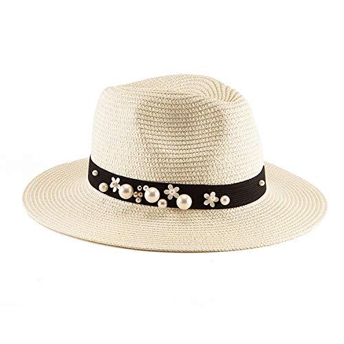 Pill Box Pirate Hat - Summer Women's Hat Wide Brim Beach Sun Hat Panama Straw Hat Men Fedora Hat Cap Sun Visor Cap Male,007 Milky White
