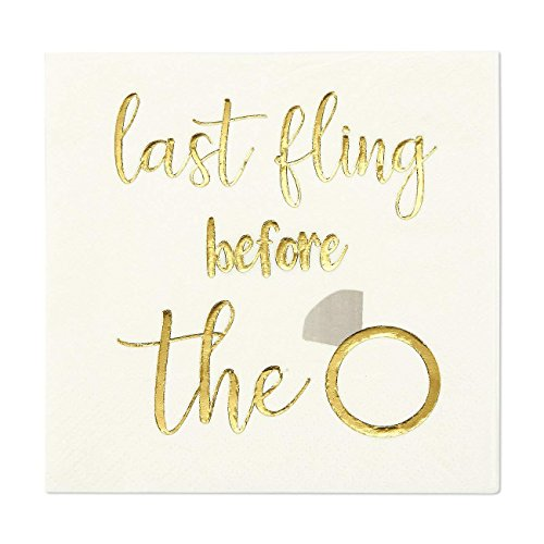 Bachelorette Party Cocktail Napkins - 100 Pack Gold Foil Last Fling Before the Ring Disposable Paper Party Napkins, Perfect for Bridal Shower Decorations and Party Supplies, 5 x 5 Inches Folded, White